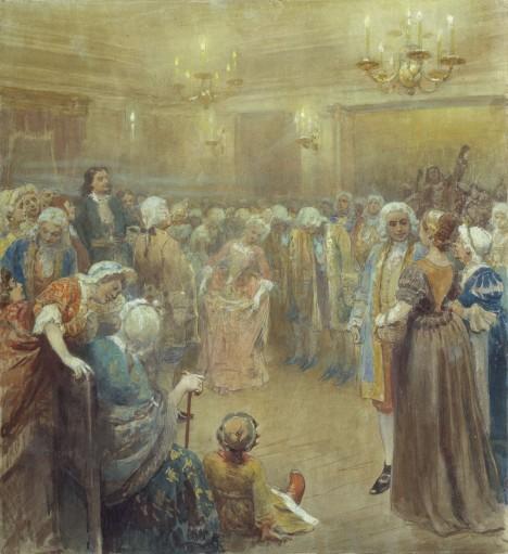 Svému dvoru car nařizuje, že se má do společnosti oblékat podle evropských zvyků.