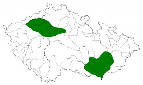 V Čechách a na Moravě se nacházejí území s nálezy keramiky pražského typu.