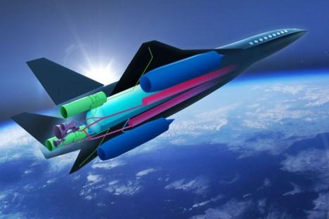 Počítačová ilustrace ukazuje systém tří různých pohonů v jediném letadle. Klasické proudové motory se starají o pojíždění a vzlet. Raketové motory vzadu pomohou překonat rychlost zvuku a pak nastoupí dvojice motorů ram jet.