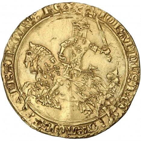Zlaté mince s jezdeckým portrétem francouzského krále Jana II. se razí už ve 14. století.
