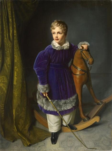 Malí chlapci vyžadují od středověku ke hře dřevěného koníka. Dovolit si ho ale mohou jenom ti  z bohatších rodin.