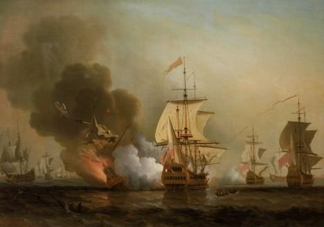 Explosion of San José during Wager's Action Combat naval au large de Carthagene, 28 mai 1708. Une escadre britannique attaque la flotte de l'or espagnole. Un navire espagnol est capturé, un autre contraint de s'échouer, et le San Jose qui transportait l'essentiel du trésor espagnol, est détruit par l'explosion de sa poudriere.