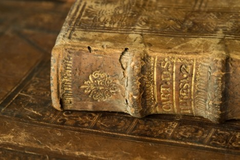 detail of the cover of a very old book