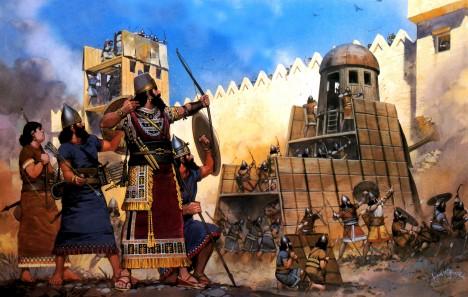 Asyřané: První pravidelná armáda 1115 př. n. l. – 606 př. n. l. Asyrský král Tiglath Pileser vytvořil první pravidelnou armádu na světě, která měla za úkol výhradně jen cvičit, bojovat a zabíjet. Skládala se nejen z pěšáků, ale také z kavalerie a lukostřelců, stavitelů a inženýrů, kteří konstruovali obléhací stroje. Jejich největší novinkou používanou na bitevních polích byly železné zbraně.