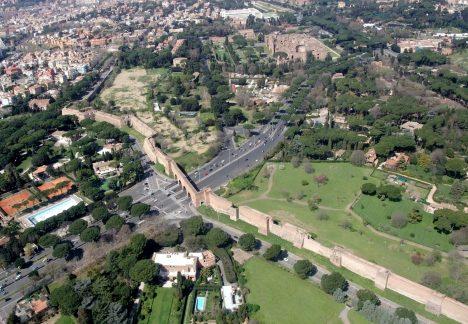Porta Ardeatina aerial of Aurelian Wall, Rome Italy