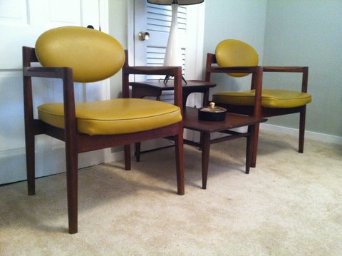 mid-century walnut arm chairs