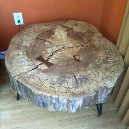 elm table on hairpin legs
