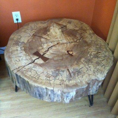 elm table on hairpin legs