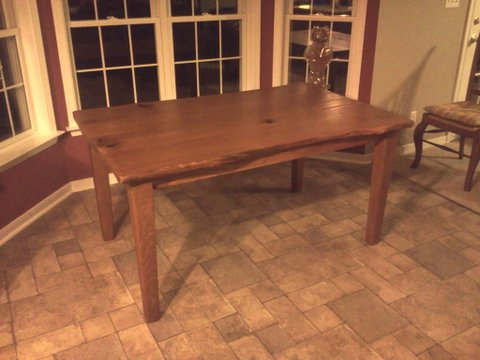 live edge oak dining table
