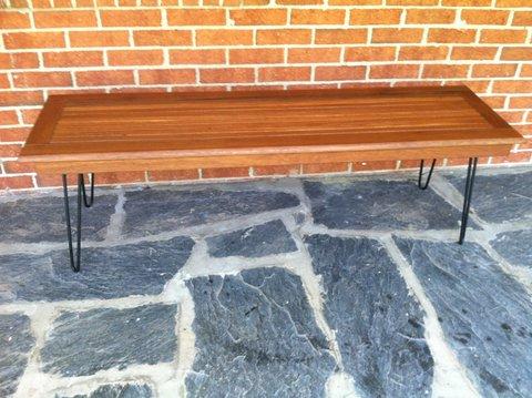 mid-century teak slat coffee table