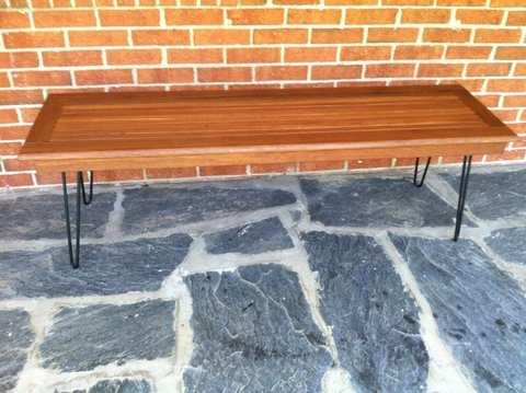 mid-century teak slat coffee table