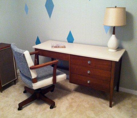 mid century modern walnut desk by stanley