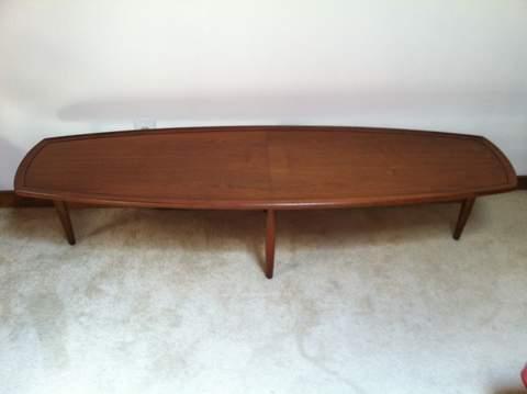 mid century surfboard coffee table