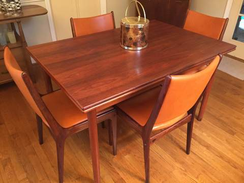 Danish-modern-mid-century-rosewood-refractory-table-6 chairs-dining-set
