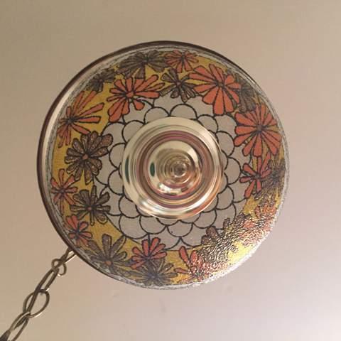 Vintage 70s Flowered Swag Lamp