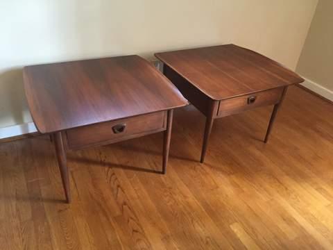 vintage mid century modern end tables Bassett Artisan