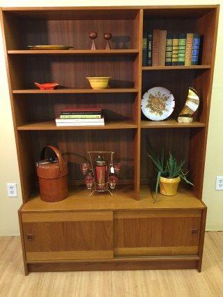vintage danish modern storage cabinet shelf domino mobler