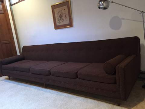 mid century modern chocolate brown sofa five seats