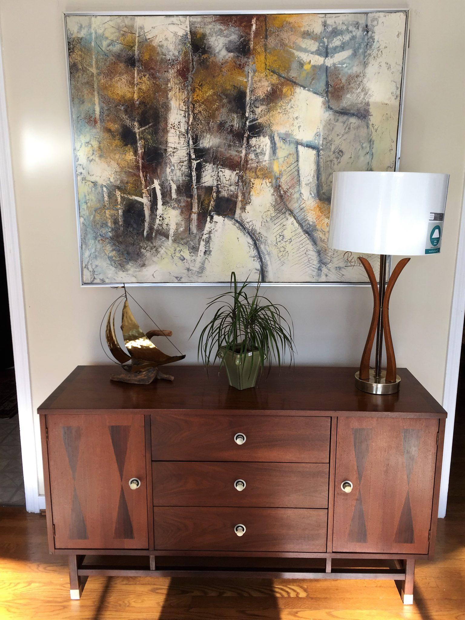 mid century modern walnut rosewood credenza Stanley Furniture