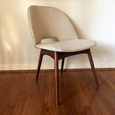 mid century modern adrian pearsall 1404 c walnut side chair barrel back