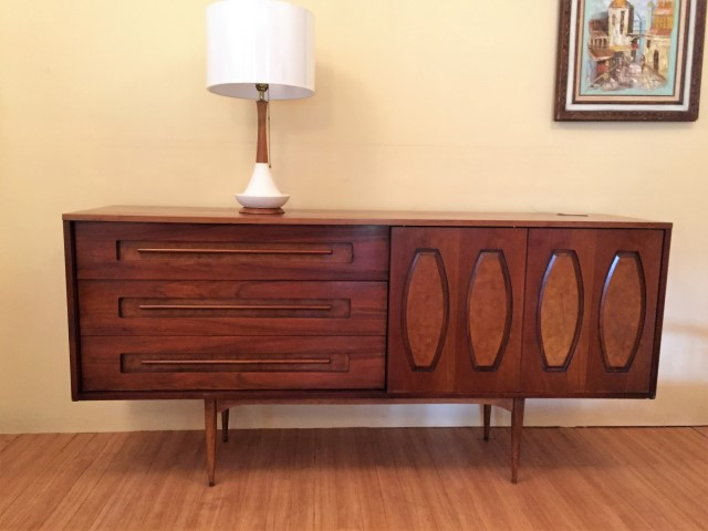 mid century modern walnut triple dresser sliding panels glass front drawers by Young