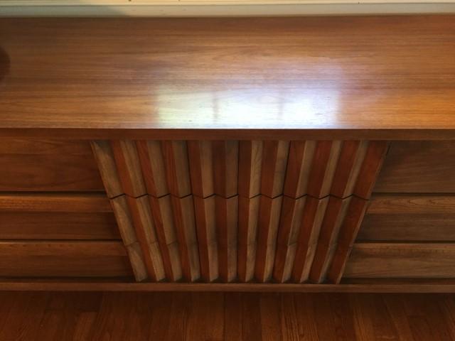mid century modern walnut triple lowboy dresser