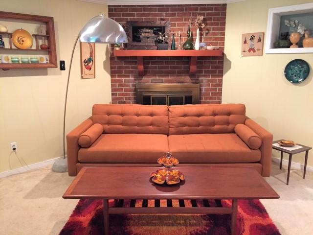 Burnt Orange Mid Century Style Sofa By Kroehler Furniture