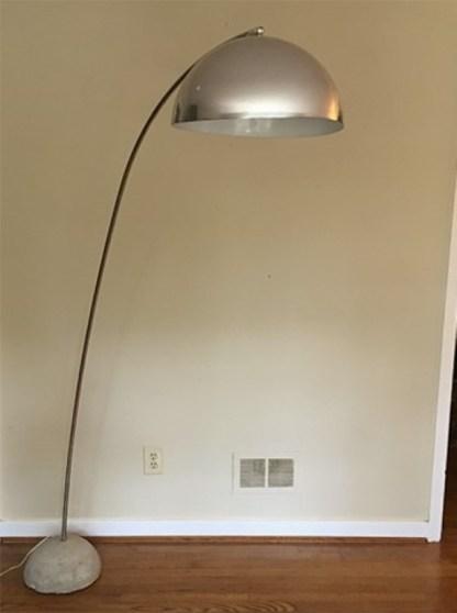 mid century modern chrome arc floor lamp