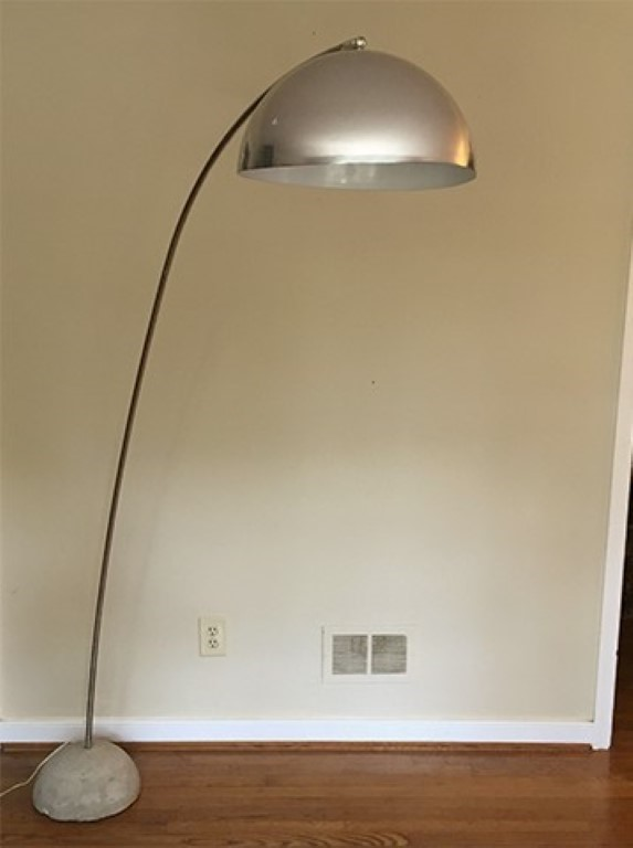 Mid Century Modern Chrome Arc Floor Lamp With Concrete Base