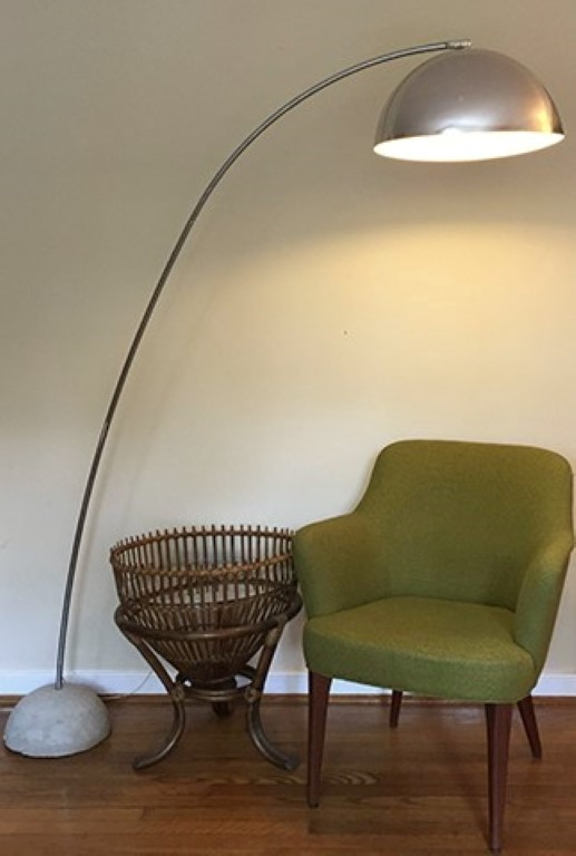 Mid Century Modern Chrome Arc Floor Lamp With Concrete