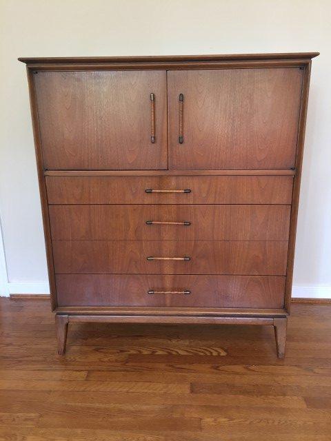 Mid Century Modern Gentleman's Chest High Dresser by Century