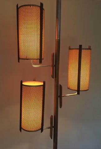 mid century modern tension rod pole lamp brass walnut fiberglass rattan