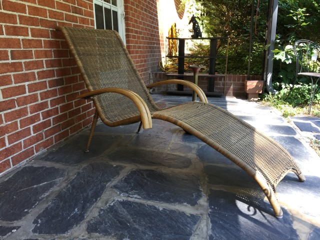 mid century modern rattan bamboo chaise