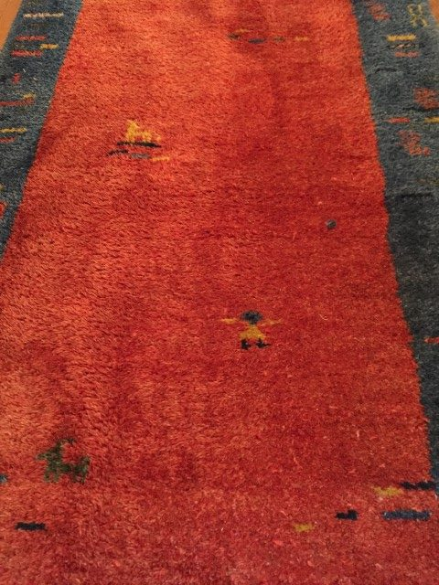 hand knotted gabbeh runner red blue