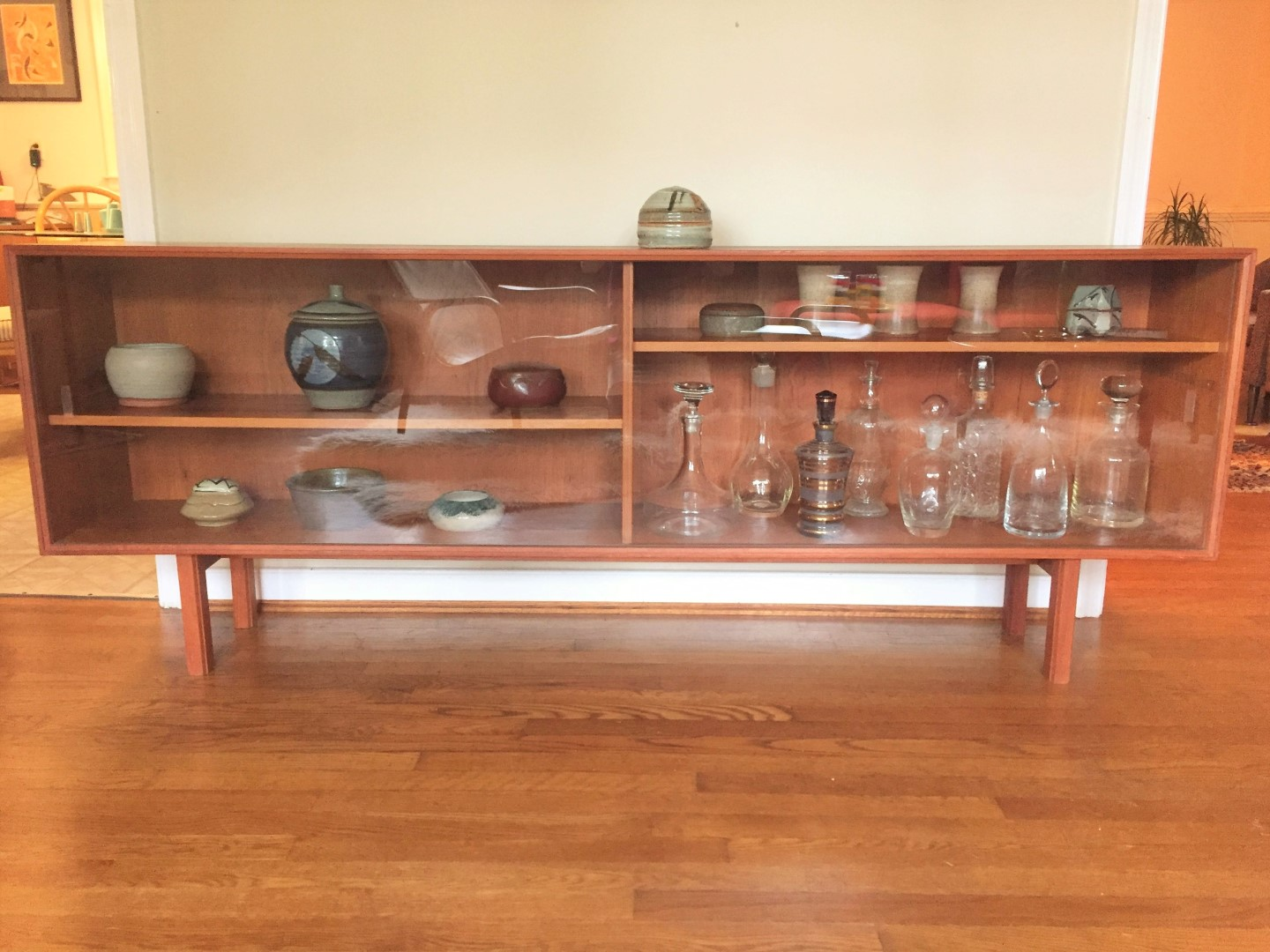 mid century Danish modern glass front media console credenza sideboard