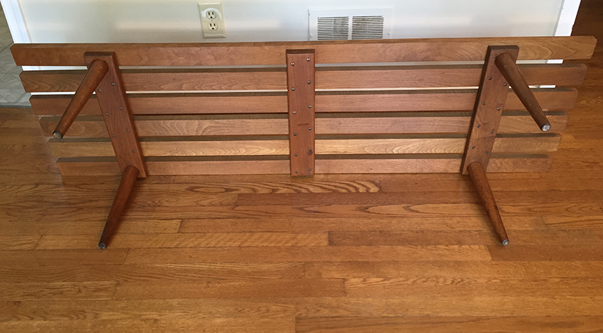 mid century modern vintage wood slat coffee table
