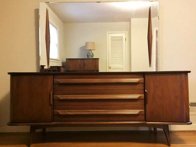 mid century modern lowboy dresser with mirror by United