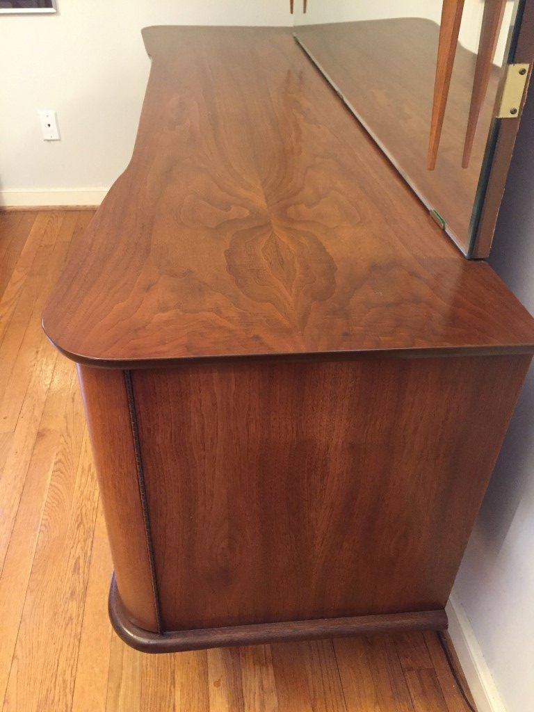 mid century modern lowboy triple dresser with mirror by United