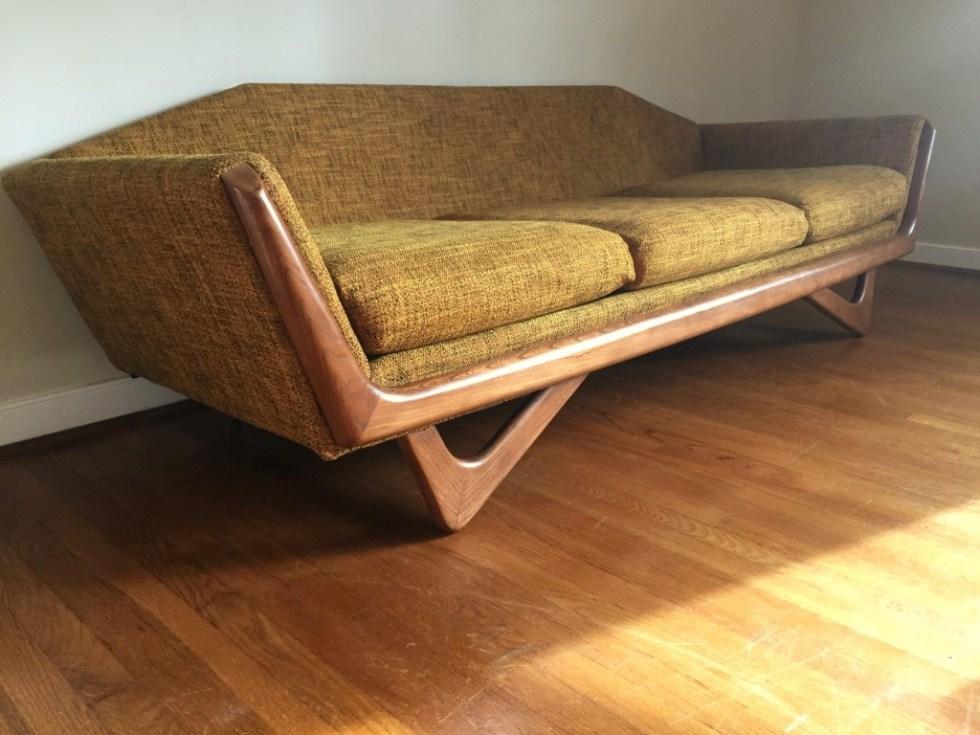 vintage mid century modern gondola sofa pearsall