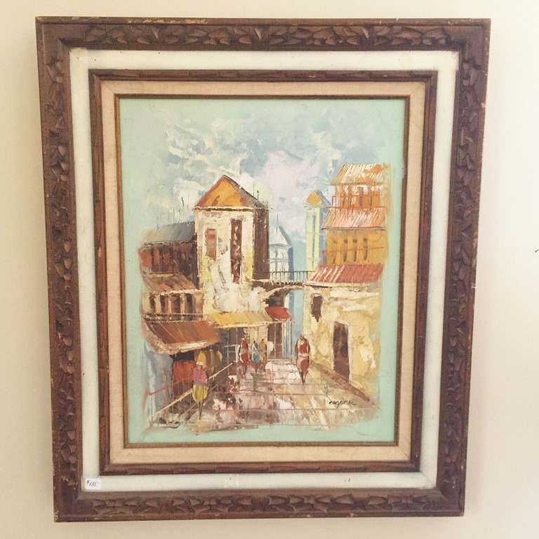 mid century modern style framed oil painting