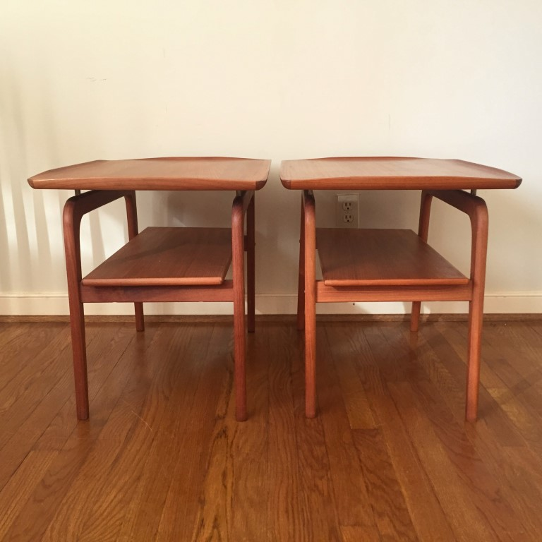 mid century Danish modern solid teak floating side end tables arne hovmand olsen