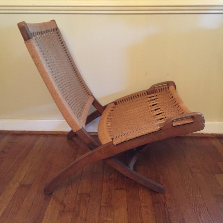 vintage folding rope chair hans wegner