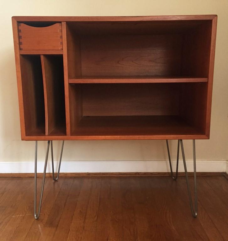 Danish Mid Century Modern teak album record storage cabinet