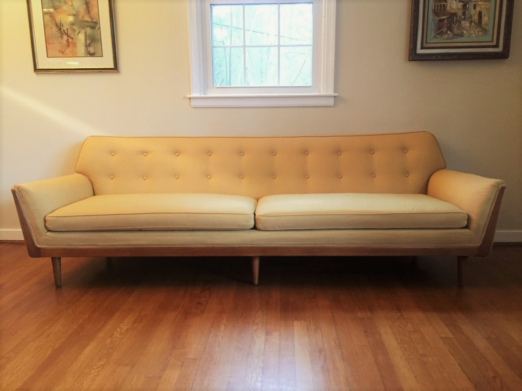 Mid Century Modern Drexel Parallel Custom Sofa, Walnut ...