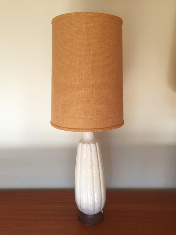 crackle glazed white fluted ceramic table lamps burlap shades