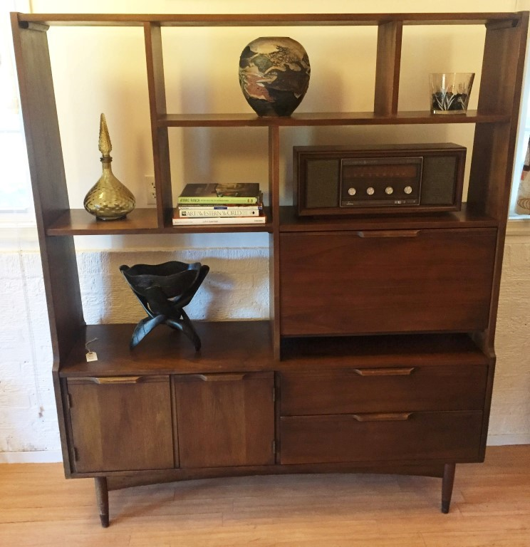 mid century modern walnut room divider wall unit
