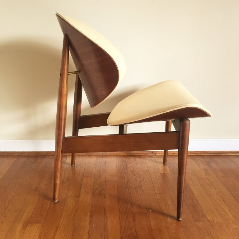 mid century modern clam shell chair leather Seymour James Wiener Kodawood