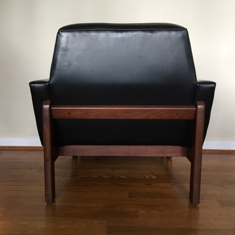 mid century modern leather walnut framed lounge chair