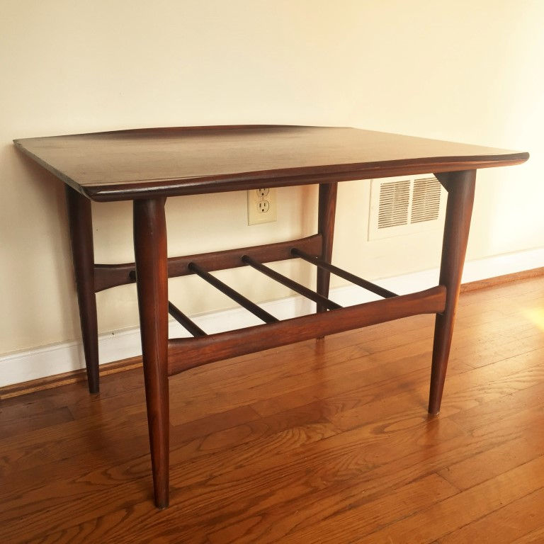mid century modern walnut end table Bassett Artisan