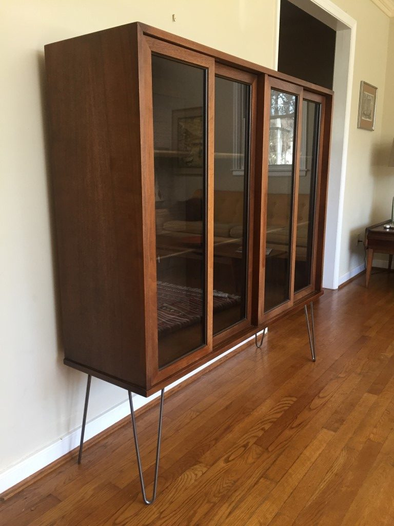 Walnut Display Cabinet With Glass Fronted Sliding Doors